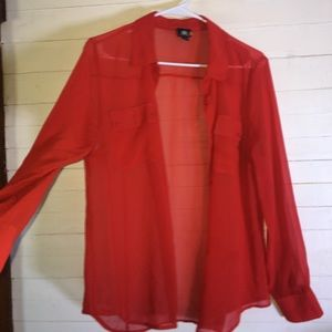 Rock & Republic Coral Chiffon Long Sleeve Blouse